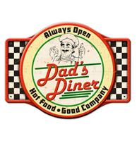 Fiftiesstore Dad's Diner Always Open, Hot Food, Good Company Zwaar Metalen Bord - 58 x 44 cm