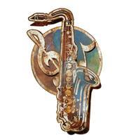 Fiftiesstore Saxofoon 3D Layered Zwaar Metalen Bord