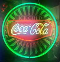 Fiftiesstore Coca-Cola Sold Here Neon Met Achterplaat 60 x 60 cm