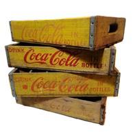 Fiftiesstore Originele Vintage Houten Coca-Cola Flessenkrat - Geel