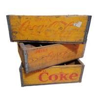 Fiftiesstore Originele Vintage Houten Coca-Cola Flessenkrat - Geel - Europees Model