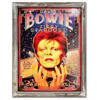 Fiftiesstore Bowie Carnegie Hall 44cm x 34cm Metalen Wandbord Met Houten Omlijsting
