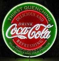 Fiftiesstore Coca-Cola Thirst Quenching Neon Verlichting Met Achterplaat - 65 x 65 cm