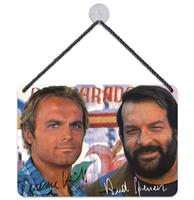 Fiftiesstore Bud Spencer Terence Hill Autograph Hangend Bord 16,5 x 11,5 cm
