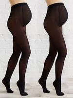 Set van 2 ondoorzichtige zwangerschapspanty's set zwart