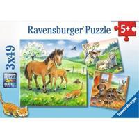 Ravensburger puzzle 3x49 stukjes Knuffeltijd
