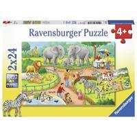Ravensburger puzzle 2x24 stukjes Een dag in de dierentuin