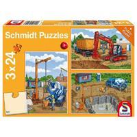 Schmidt Op de bouwplaats 3 x 24 stukjes - Puzzel