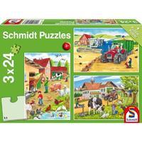 Schmidt Op de boerderij 3 x 24 stukjes - Puzzel