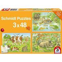 Schmidt Dierenfamilies 3 x 48 stukjes - Puzzel
