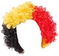 België supporterspruik Tricolore Belgium WK zwart/geel/rood