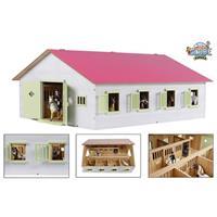 Horses Houten Paardenstal met 7 Boxen Roze/Wit 1:24