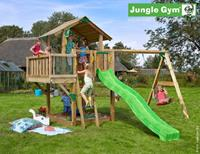 Jungle Gym Chalet + Balcony + 2-Swing X'tra DeLuxe Donkergroen
