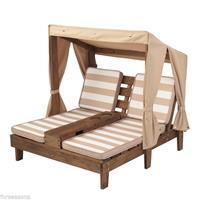 kidkraft Tweepersoons Houten kinder ligstoel -chaise longue- (Espressokleur & bruin/wit) -  (00534)