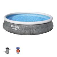 "Bestway Schwimmbecken Fast Set 13' x 33""/3.96m x 84cm Swimming Pool Set Rattanoptik"