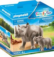 PLAYMOBIL Family Fun: Neushoorn met baby (70357)