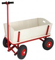 bolderwagen 95 x 61 cm hout/staal bruin/rood