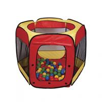 Paradiso Toys speeltent met 100 ballen 100 x 75 cm rood/geel