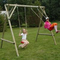Intergard Houten schommel 370x210cm houten speeltoestellen dubbel