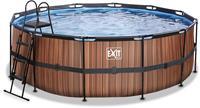 EXIT Wood zwembad - 427 x 122 cm - met zandfilterpomp en trap