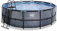 EXIT Stone zwembad - 427 x 122 cm - met zandfilterpomp en trap