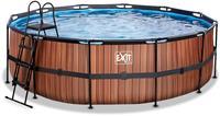 EXIT Wood zwembad - 450 x 122 cm - met zandfilterpomp en trap