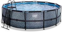 EXIT Stone zwembad - 450 x 122 cm - met zandfilterpomp en trap