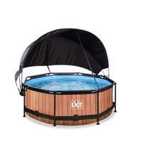 EXIT Wood opzetzwembad met schaduwdoek en filterpomp bruin ø244x76cm