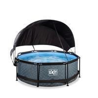EXIT Stone opzetzwembad met schaduwdoek en filterpomp grijs ø244x76cm
