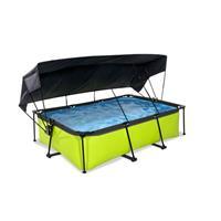 EXIT Lime opzetzwembad met schaduwdoek en filterpomp groen 220x150x65cm