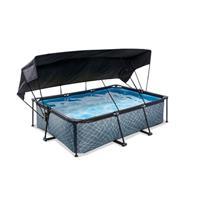 EXIT Stone opzetzwembad met schaduwdoek en filterpomp grijs 220x150x65cm
