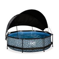 EXIT Stone opzetzwembad met schaduwdoek en filterpomp grijs ø300x76cm