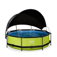 EXIT Lime opzetzwembad met schaduwdoek en filterpomp groen ø300x76cm