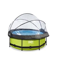 EXIT Lime opzetzwembad met overkapping en filterpomp groen ø244x76cm