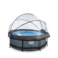 EXIT Stone opzetzwembad met overkapping en filterpomp grijs ø244x76cm