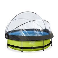 EXIT Lime opzetzwembad met overkapping en filterpomp groen ø300x76cm