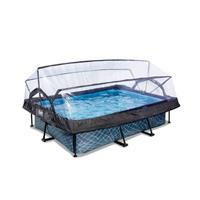 EXIT Stone opzetzwembad met overkapping en filterpomp grijs 220x150x65cm