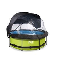 EXIT Lime opzetzwembad met overkapping, schaduwdoek en filterpomp groen ø244x76cm