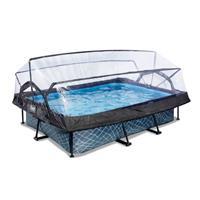 EXIT Stone opzetzwembad met overkapping en filterpomp grijs 300x200x65cm