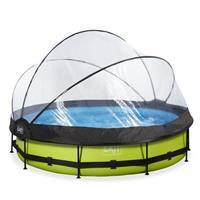 EXIT Lime opzetzwembad met overkapping en filterpomp groen ø360x76cm