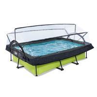 EXIT Lime opzetzwembad met overkapping en filterpomp groen 300x200x65cm