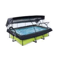 EXIT Lime opzetzwembad met overkapping, schaduwdoek en filterpomp groen 220x150x65cm