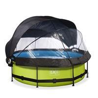 EXIT Lime opzetzwembad met overkapping, schaduwdoek en filterpomp groen ø300x76cm