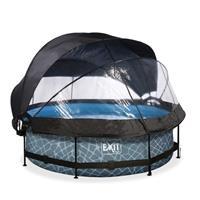 EXIT Stone opzetzwembad met overkapping, schaduwdoek en filterpomp grijs ø300x76cm