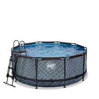 EXIT Stone opzetzwembad met filterpomp grijs ø360x122cm