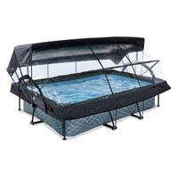EXIT Stone opzetzwembad met overkapping, schaduwdoek en filterpomp grijs 300x200x65cm
