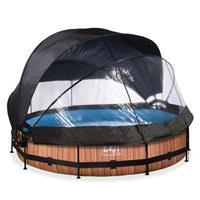 EXIT Wood opzetzwembad met overkapping, schaduwdoek en filterpomp bruin ø360x76cm