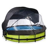 EXIT Lime opzetzwembad met overkapping, schaduwdoek en filterpomp groen ø360x76cm