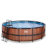 EXIT Wood opzetzwembad met filterpomp bruin ø450x122cm