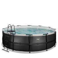 EXIT Black Leather opzetzwembad met filterpomp zwart ø450x122cm
